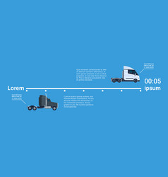 Semi truck trailers elelments of template vector