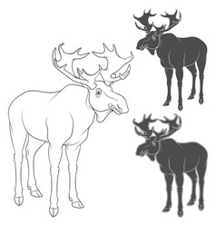 Set of black and white with moose vector