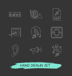 set of music icons line style symbols with gong vector image