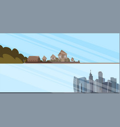 set of of city landscapes vector image