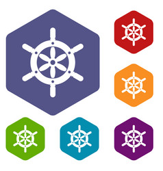 Ship wheel icons set hexagon vector