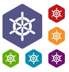 Ship wheel icons set hexagon vector