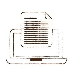 Sketch draw laptop device document digital vector