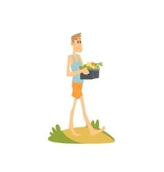 Skinny Farmer Carrying The Vegetables vector