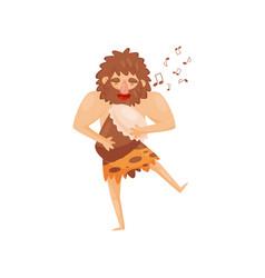 stone age prehistoric man playing drum primitive vector image
