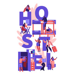students travelers characters hostel accommodation vector image