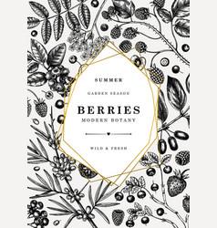 Summer berry vintage design hand drawn berries vector