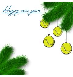 Tennis balls on Christmas tree branch vector