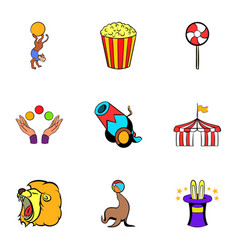 Tent icons set cartoon style vector