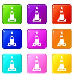 Traffic cone icons 9 set vector