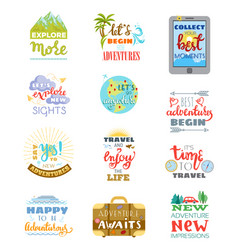 Traveling lettering adventure sign and vector