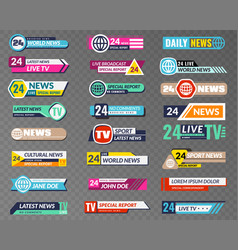 Tv banners broadcasting graphic interface tv vector
