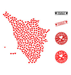 Valentine collage map of tuscany region and grunge vector