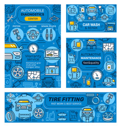 vehicles repair cleaning service car diagnostics vector image