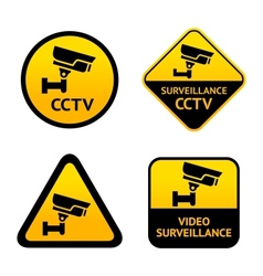 Video surveillance set labels vector image vector image