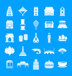 vietnam travel tourism icons set simple style vector image