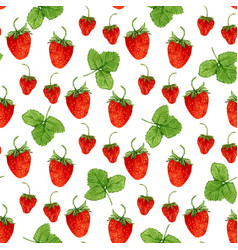 watercolor seamless pattern with strawberries and vector image