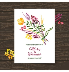 Wedding invitation card with watercolor floral vector image