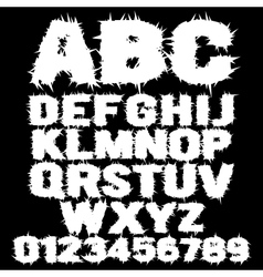 White studded scary alphabet vector