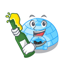 With beer cartoon ice house igloo on snowing day vector