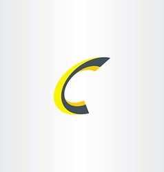 Yellow black letter c 3d logo icon vector