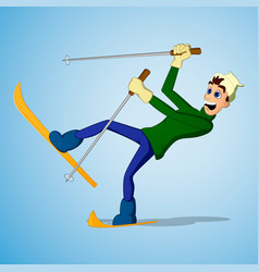 Young man falling while skiing vector