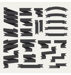Black ribbons set vector image vector image