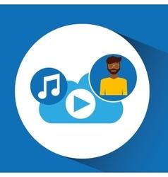cartoon man glasses cloud music play vector image
