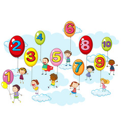 counting numbers with kids on balloons vector image