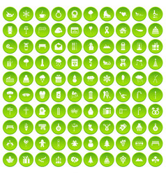 100 winter holidays icons set green vector image vector image