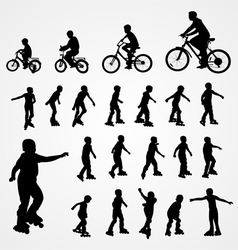 Big set silhouette of roller skating and bicyclist vector image vector image