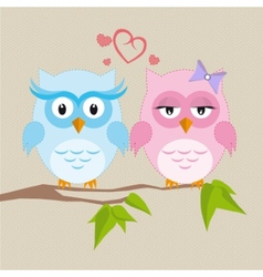 Couple of owls in love vector image