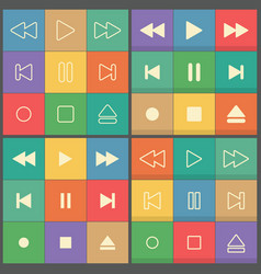 icons buttons for flat ui player vector image