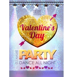 Love heart background Valentine party poster vector image vector image