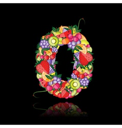 number zero made from fruits vector image vector image