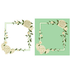 two frames with white roses on border vector image vector image