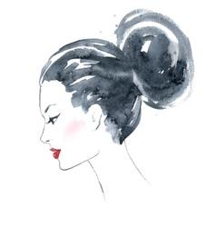 Watercolor girl vector image
