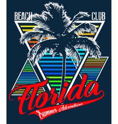 florida beach typography tee graphic design vector image vector image