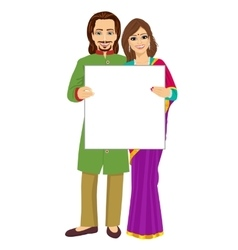 Indian couple holding empty blank board vector image