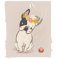 little cute bulldog vector image vector image