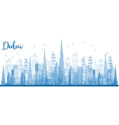 outline dubai skyline with city skyscrapers vector image