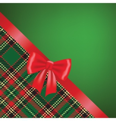 Christmas card with red ribbon bow and tartan vector image