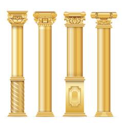 Classic antique gold columns set vector