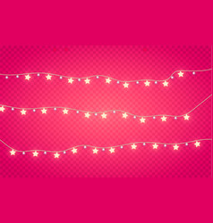 golden star garland isolated festive background vector image