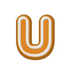 letter u gingerbread peppermint honey-cake font vector image vector image
