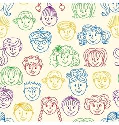 Seamles children faces pattern vector image