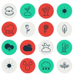 set of 16 world icons includes cactus oak bush vector image