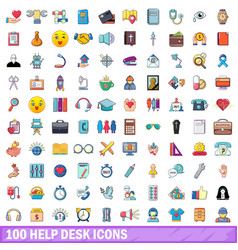 100 help desk icons set cartoon style vector