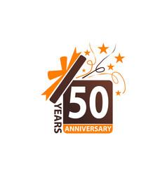 50 years gift box ribbon anniversary vector