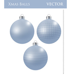 a set of light blue christmas balls vector image